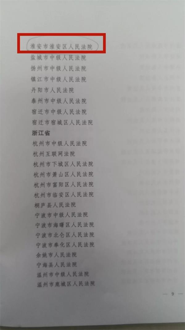 淮安区法院荣获2019年度全国法院司法宣传先进集体